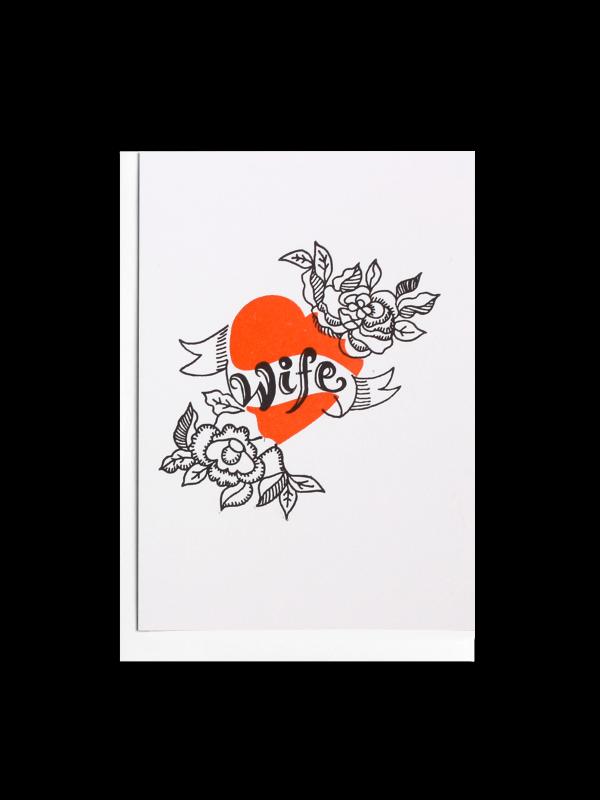 Wife Tattoo Letterpress Card