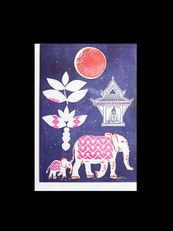 Elephant in Jungle letterpress card by Pop Press