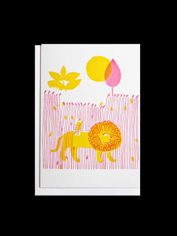 Lion in Grass letterpress card by Pop Press