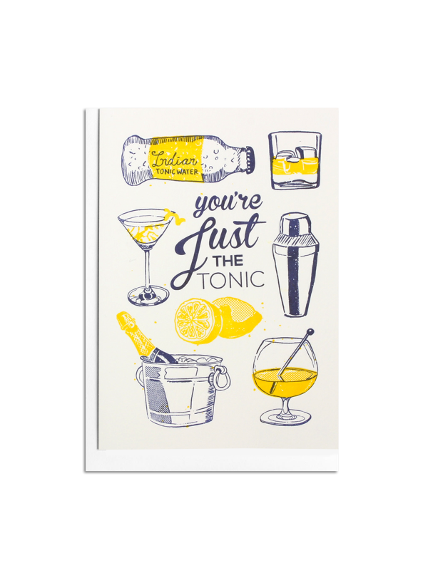 Just the Tonic Letterpress card