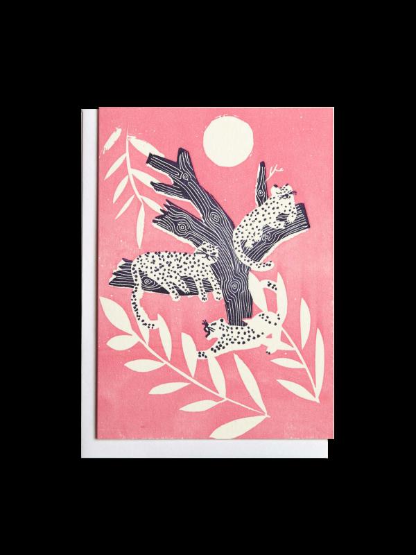 Leopards in Tree letterpress card by Pop Press