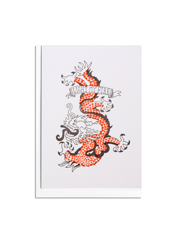 Love Dragon Letterpress Card