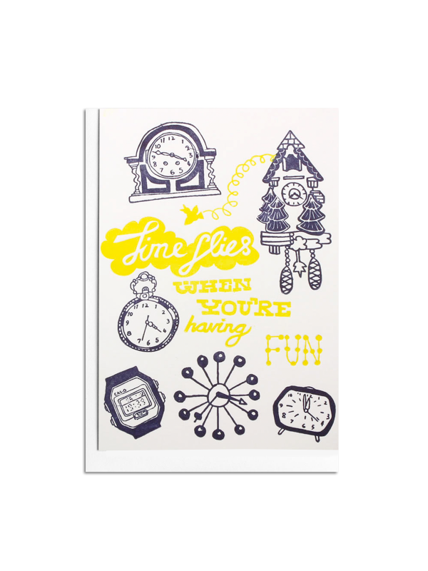 Time Flies Letterpress card