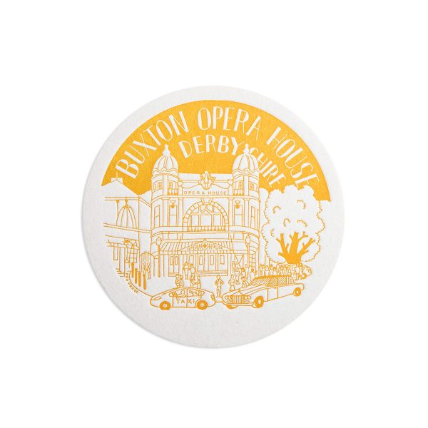 Buxton Opera House Derbyshire Letterpress coaster by Pop Press