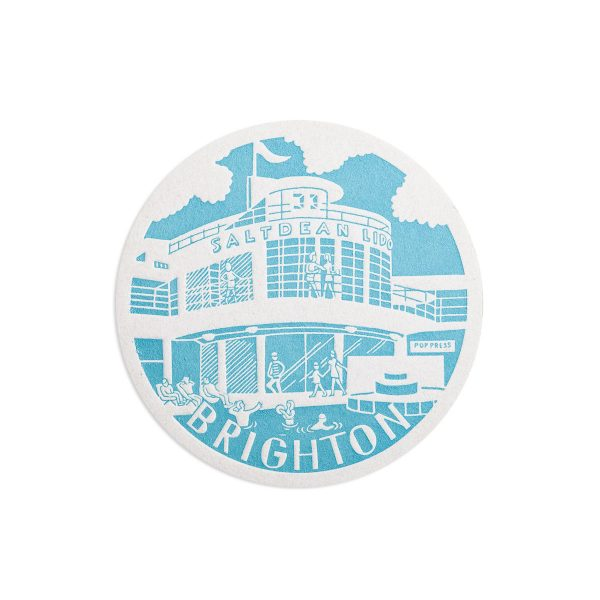 Saltdean Lido Brighton Letterpress coaster by Pop Press
