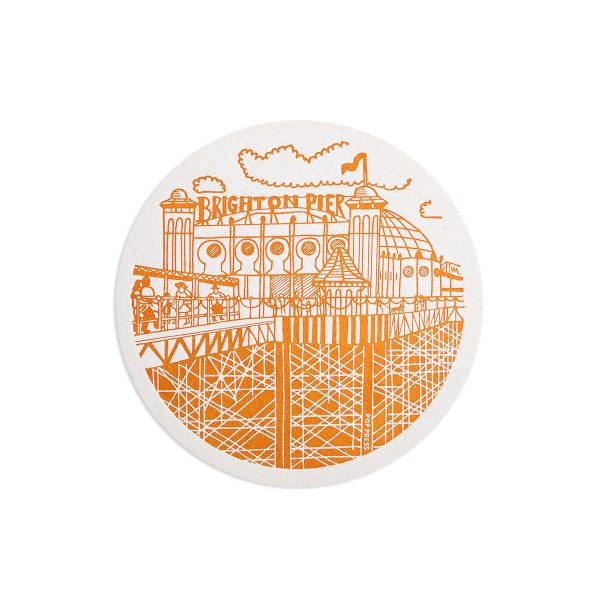 Pier Brighton Letterpress coaster by Pop Press