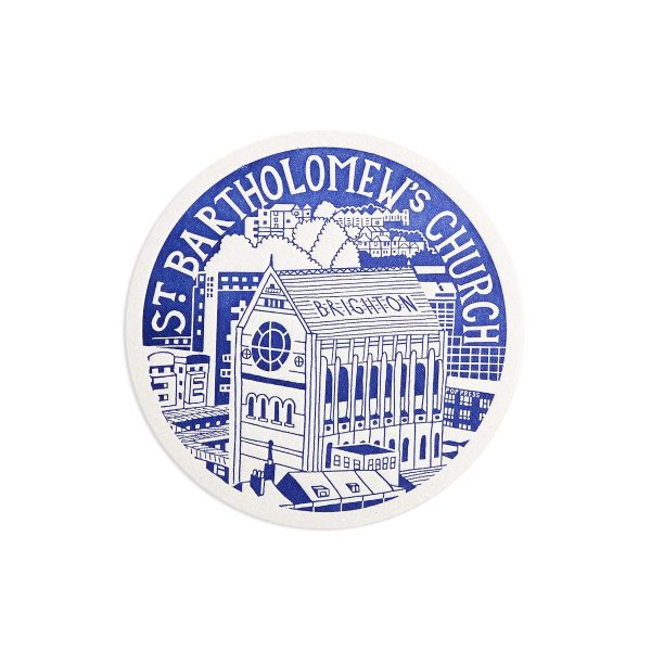 St Bartholomews Church Brighton Letterpress coaster by Pop Press