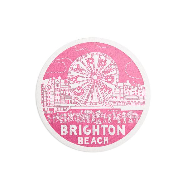 Beach Brighton Letterpress coaster by Pop Press