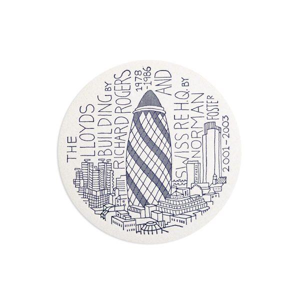 Gherkin London Letterpress coaster by Pop Press