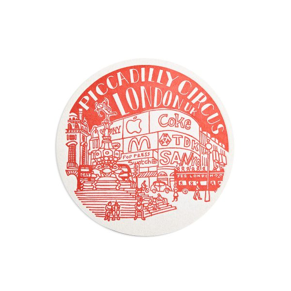 Piccadilly Circus London Letterpress coaster by Pop Press