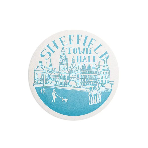 Town Hall Sheffield Letterpress coaster by Pop Press