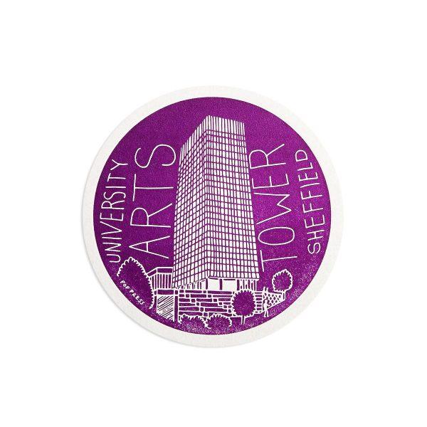 University Arts Tower Sheffield Letterpress coaster by Pop Press