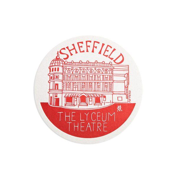 The Lyceum Sheffield Letterpress coaster by Pop Press