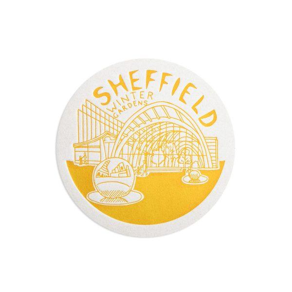 Winter Gardens Sheffield Letterpress coaster by Pop Press