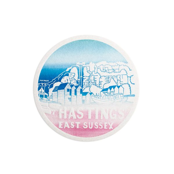 Hastings Beach Seaside Letterpress coaster by Pop Press