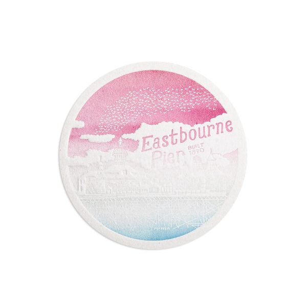 Eastbourne Pier Seaside Letterpress coaster by Pop Press