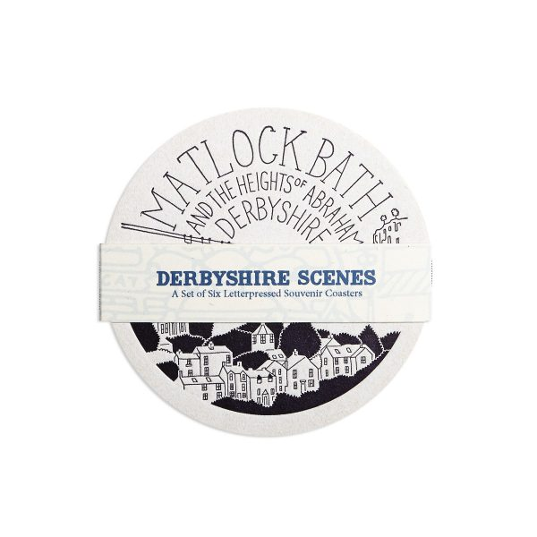 Derbyshire Letterpress Coaster Set by Pop Press