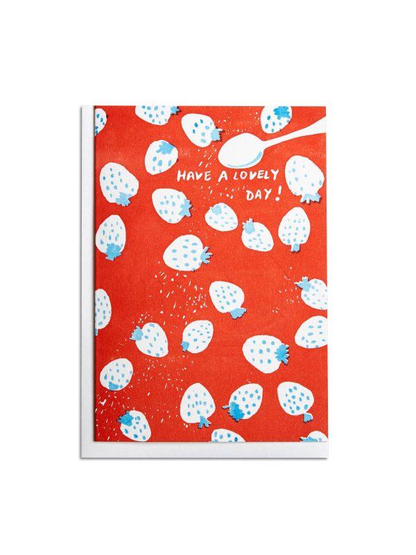 Strawberries letterpress card by Pop Press