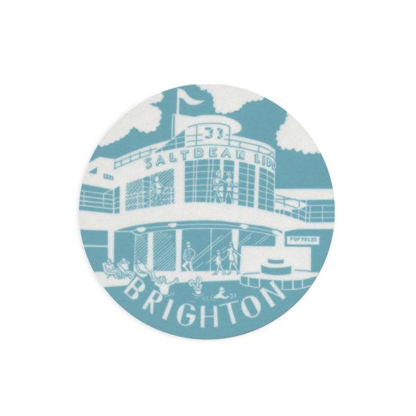 Saltdean Lido Brighton Melamine Coaster by Pop Press