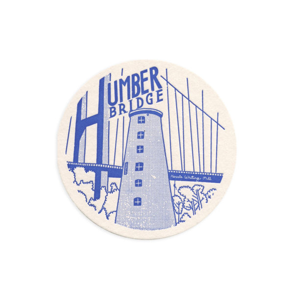 Humber Bridge Hull Letterpress Coaster by Pop Press
