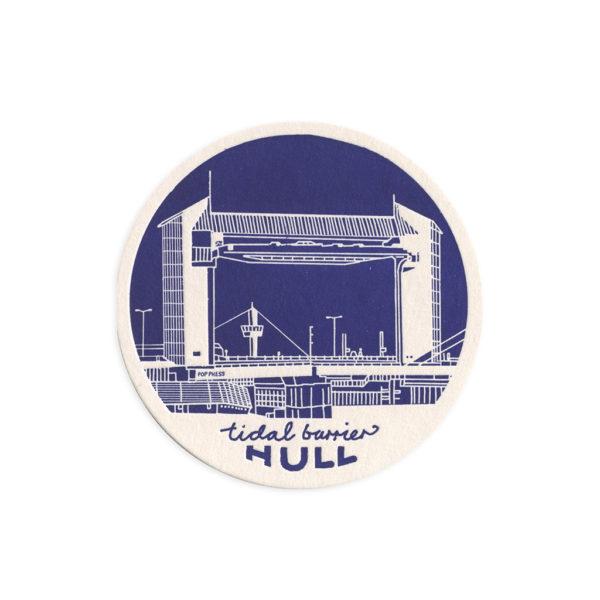 Tidal Barrier Hull Letterpress Coaster by Pop Press