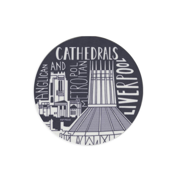 Cathedrals of Liverpool Melamine Coaster by Pop Press